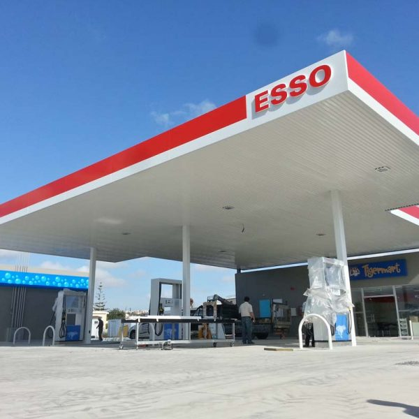 Aluminium sandwitch panelling & signs for gas station
