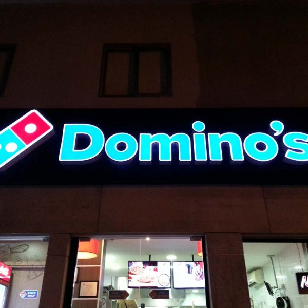 DOMINOS 3D LED letters sign