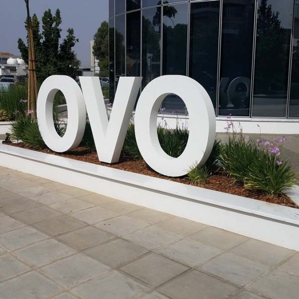 Free standing metal letters sign