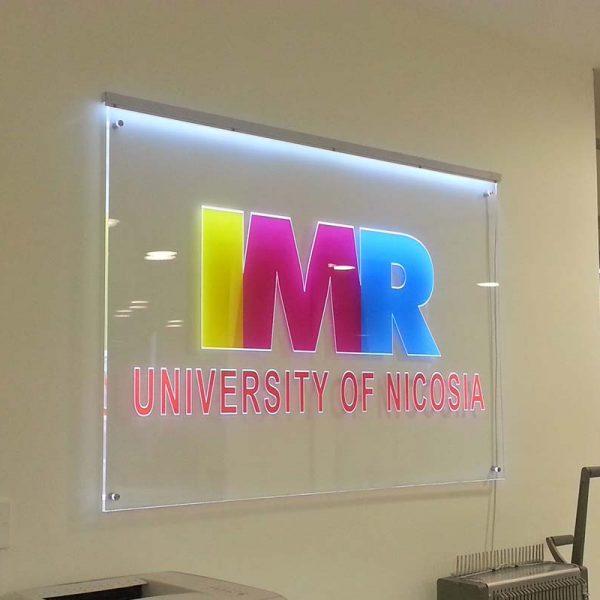 Illuminated engraved acrylic sign