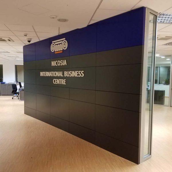 Indoor aluminium composite panelling wall