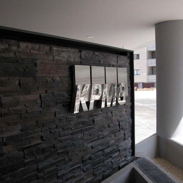 KPMG entrance stainless steel logo sign