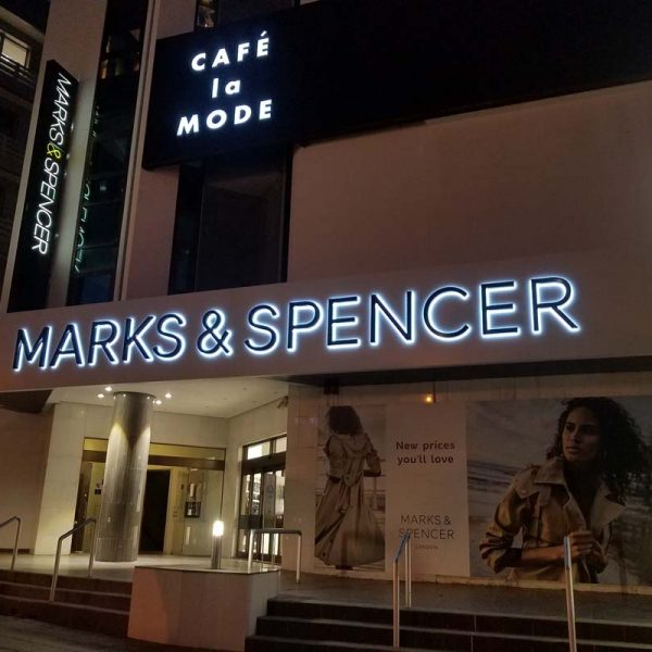 MARKS & SPENCER backlit illuminated letters sign