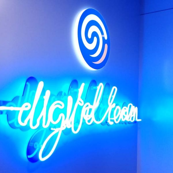 Neon light logo sign