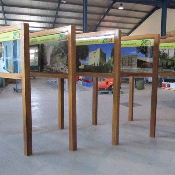 Wooden framed information displays